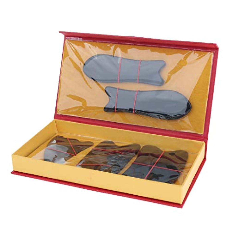 敬の念安全な量Baoblaze 5本 マッサージボード スクレーパー フェイス フルボディー 2色選べ - ブラック