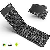 Bluetoothキーボード 折りたたみ式 143g 超軽量 Levens ワイヤレスキーボード iOS/Android/Windowsに対応 USB充電 薄型 持ち運び便利 専用ケース付き スタンド機能付き (ブラック)