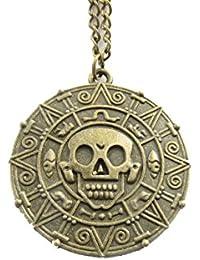 ヴィンテージスタイルカリブの海賊コインペンダントnecklace-bronze Cursed Pirate Doubloonネックレス