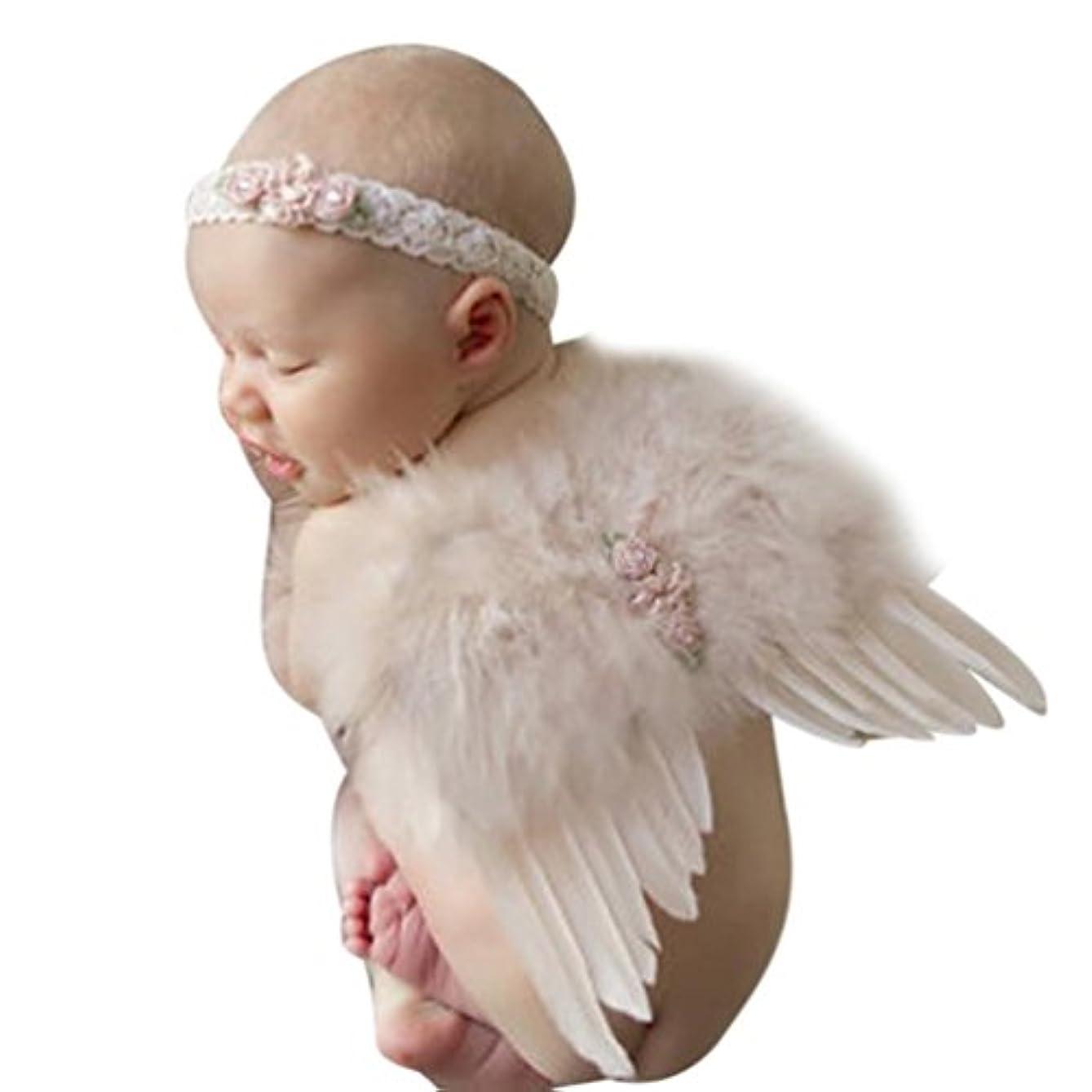 リアル発表ハーネスTonsee ベビー用着ぐるみ まるで天使 ヘアバンド付 赤ちゃん 可愛い コスプレ 百日記念 写真 撮影用