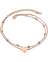 Mintik Rose Gold Tone Heart Anklet Stainless Steel Dual-Strands Girl Women Round Bead Link Bracelet Anklets for Women