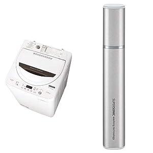 シャープ 全自動洗濯機 ステンレス槽 4.5kg ホワイト系 ES-GA4B-W 超音波ウォッシャー シルバー系 セット