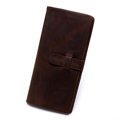 [エスコー] escow 長財布 メンズ レディース 二つ折り レザー 財布 本革 ウォレット 革財布 ロングウィレット プレゼントに最適 イタリア製高級レザー  (濃いコーヒー)