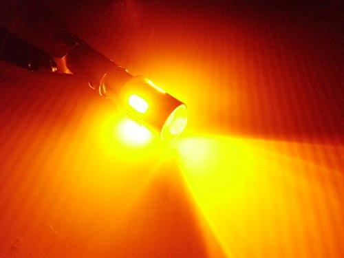 12V/24V兼用 無極性/ピン角180度 Ba9s・G14型/黄色・オレンジ系アンバー/6連SMDLED/2個セット サイド マーカー 角マーカー トラック LEDバルブ 拡散 プロジェクターレンズ付