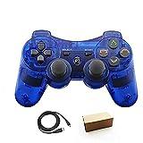Pueleo PS3用 ワイヤレス デュアルショック3 ワイヤレスコントローラー互換 日本語説明書 USB ケーブル付属 (1透明ブルー)