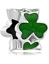 LilyJewelry Three Leaf Clover Shamrock Charm Beads for Bracelets