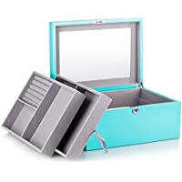 Extra Large 3 Layers High Gloss Wooden Jewellery Box Watch Case w/Mirror 3 Layers Lock and Key MG024