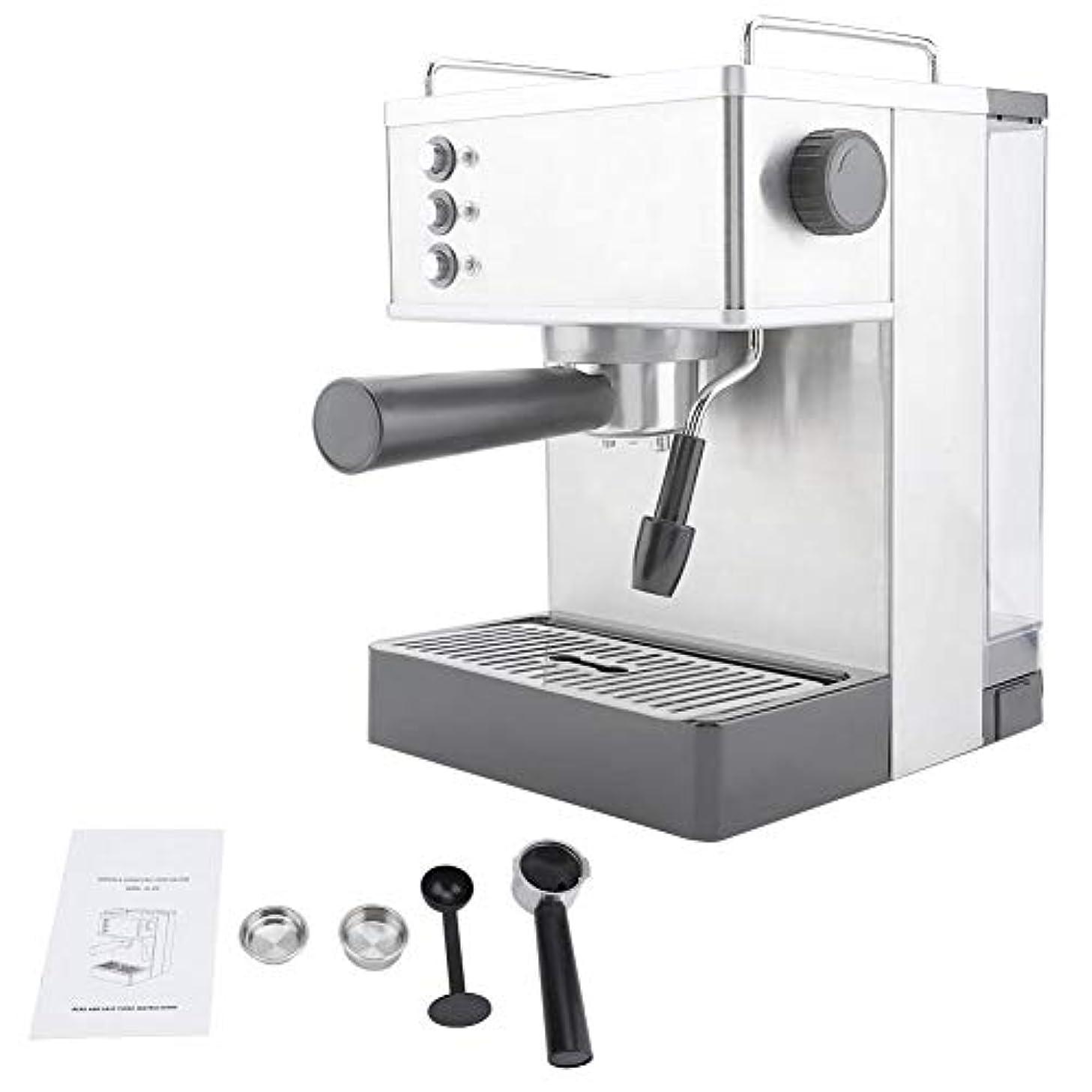 煙突パニック計器コーヒーマシン、ステンレススチールエスプレッソコーヒーマシンコーヒーメーカー高圧イタリアポンプ(US Plug)