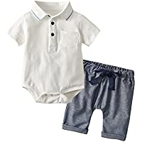JIA&DI Newborn Infant Baby Boy Jumpsuit Romper Polo Shirt+Shorts Casual for Summer