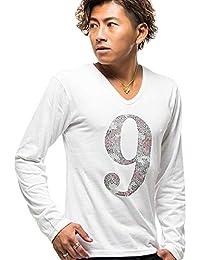 (キャバリア) CavariA メンズ Vネック 長袖 Tシャツ 迷彩 カモフラージュ スカル ドクロ ナンバリング