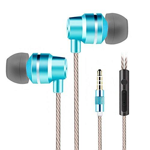 イヤホン カナル型 マイク付き 高音質 音量 有線 リモコン付き 防水 重低音 音漏れ防止 外音遮断 ステレオ 疲労軽減 切れにくい 通話可能 かわいい android/iPhone/iPod/iPad対応 (ブルー)
