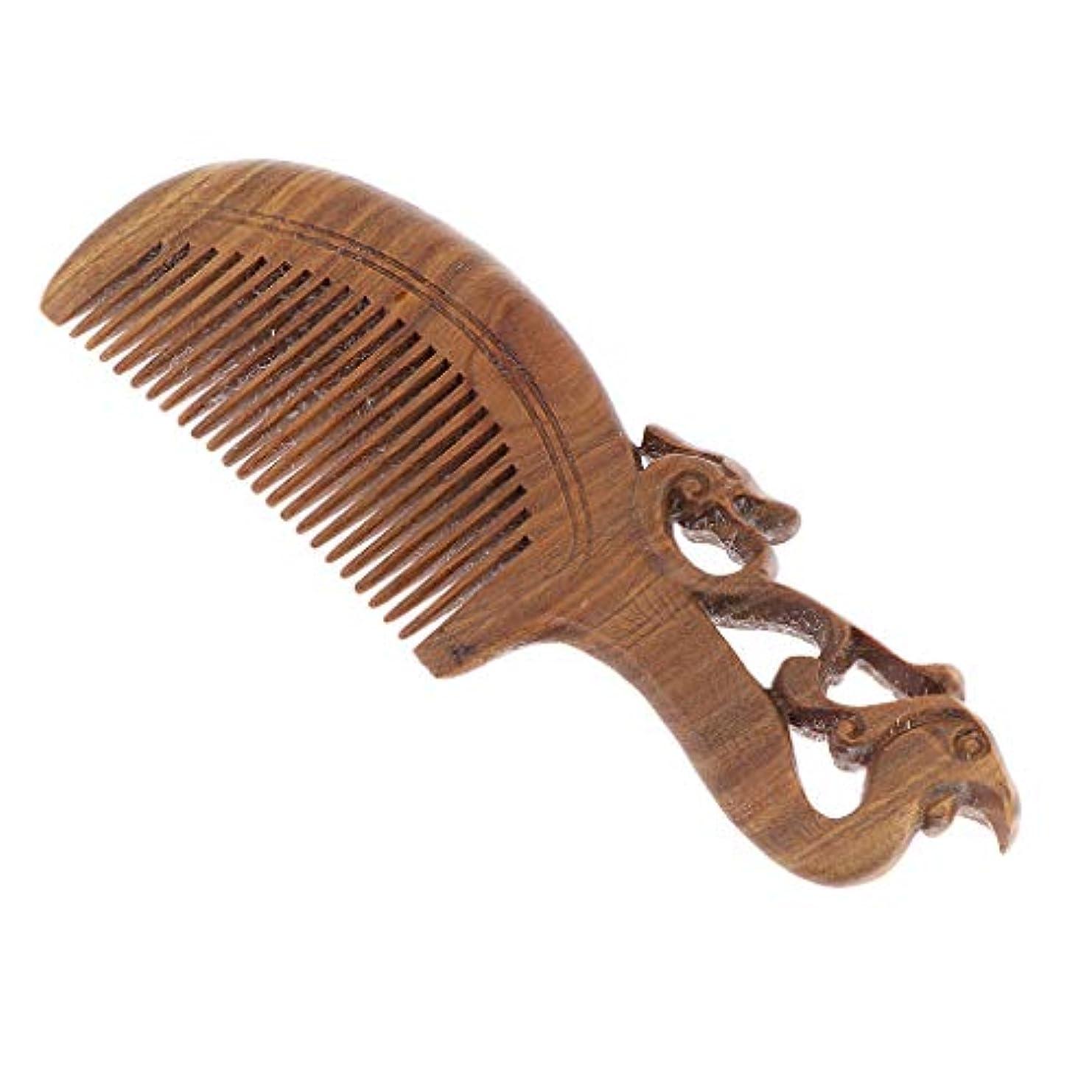 太いブリーク本Toygogo 絶妙な彫刻サンダルウッドの髪の櫛頭皮のマッサージデタングルブラシは静的ではありません - 17 x 5.5 x 1.2 cm