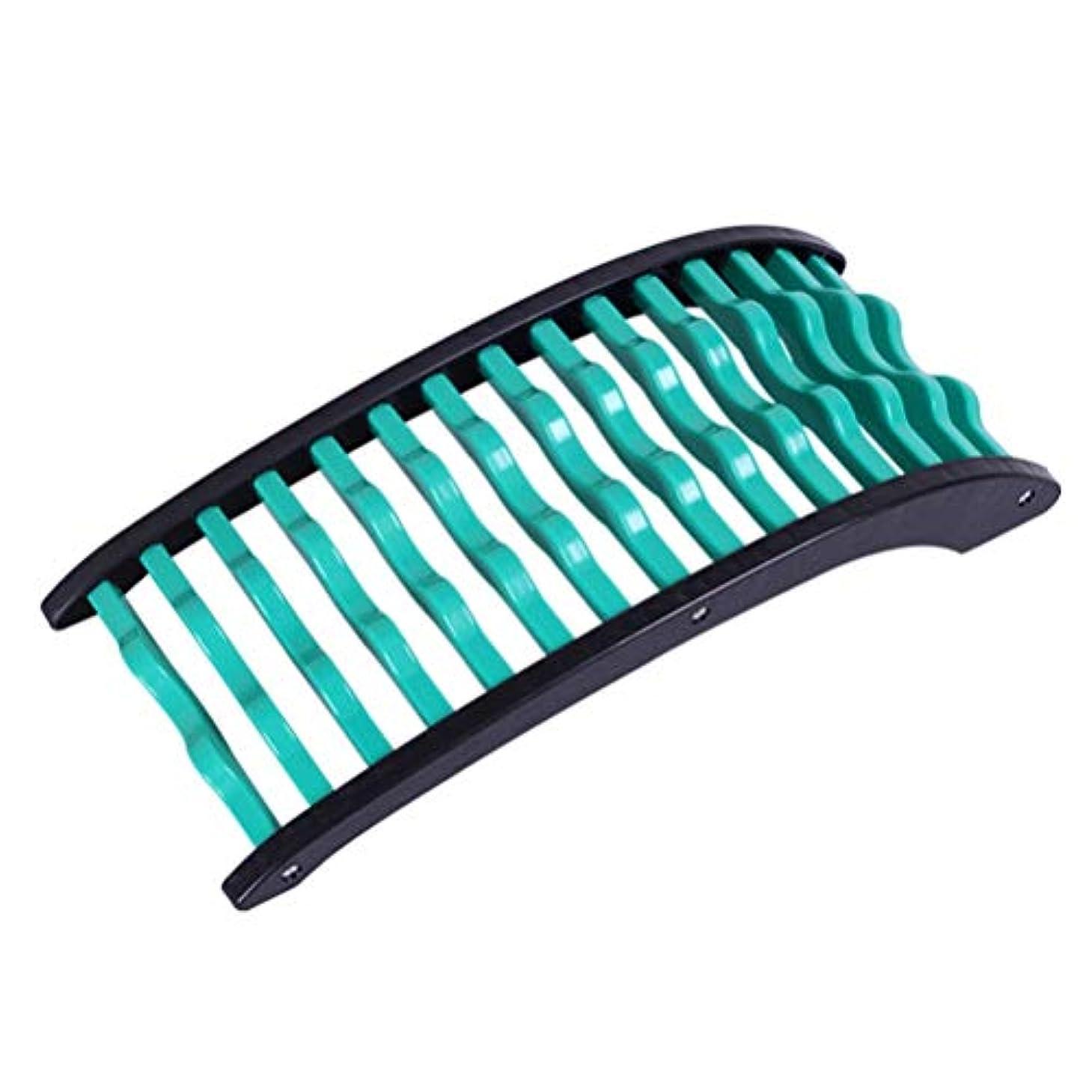 コンセンサス委任アフリカ人バックストレッチャー 腰椎矯正 腰痛リリーフ弧状腰椎引っ張りマッサージ器 寝るだけ簡単 ストレッチ (Color : 緑)