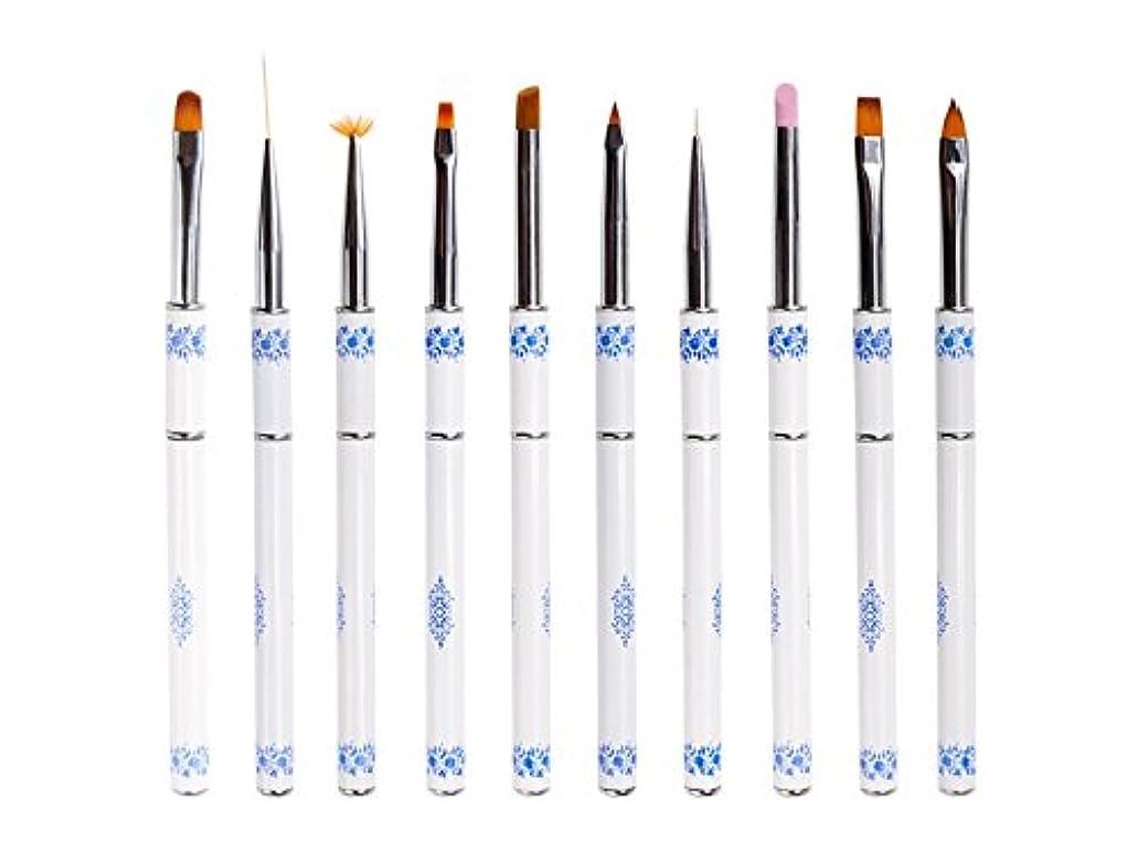 リテラシーストライク五Osize ネイル光線療法クリスタルペンセット青と白の磁器ネイルペン引っ張りペンネイルアート塗装ネイルラインペン