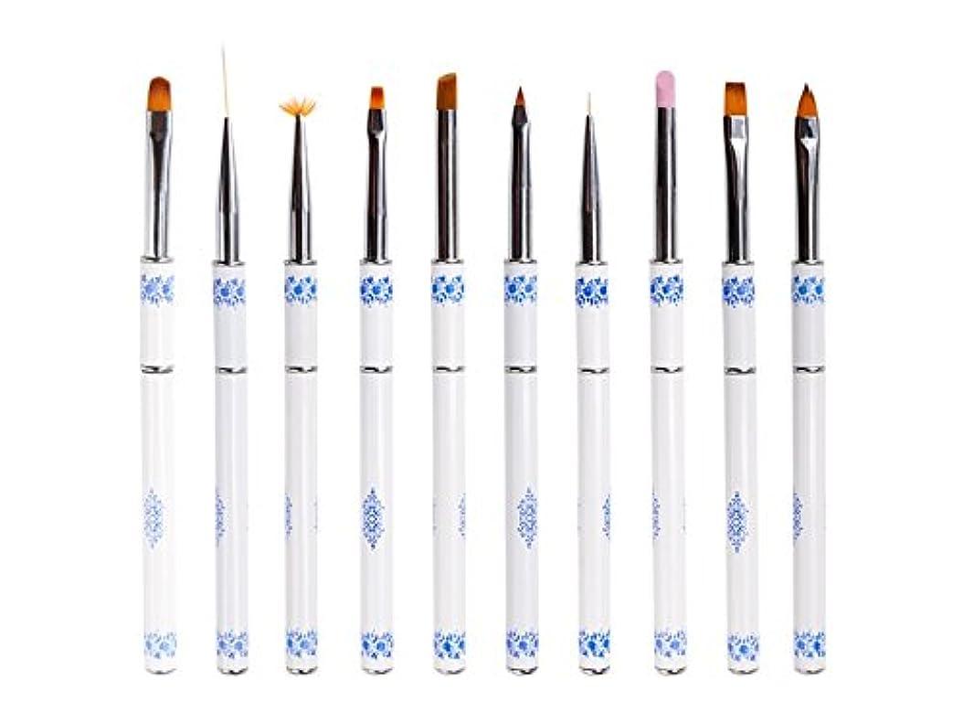 クロニクル有名な道徳のOsize ネイル光線療法クリスタルペンセット青と白の磁器ネイルペン引っ張りペンネイルアート塗装ネイルラインペン