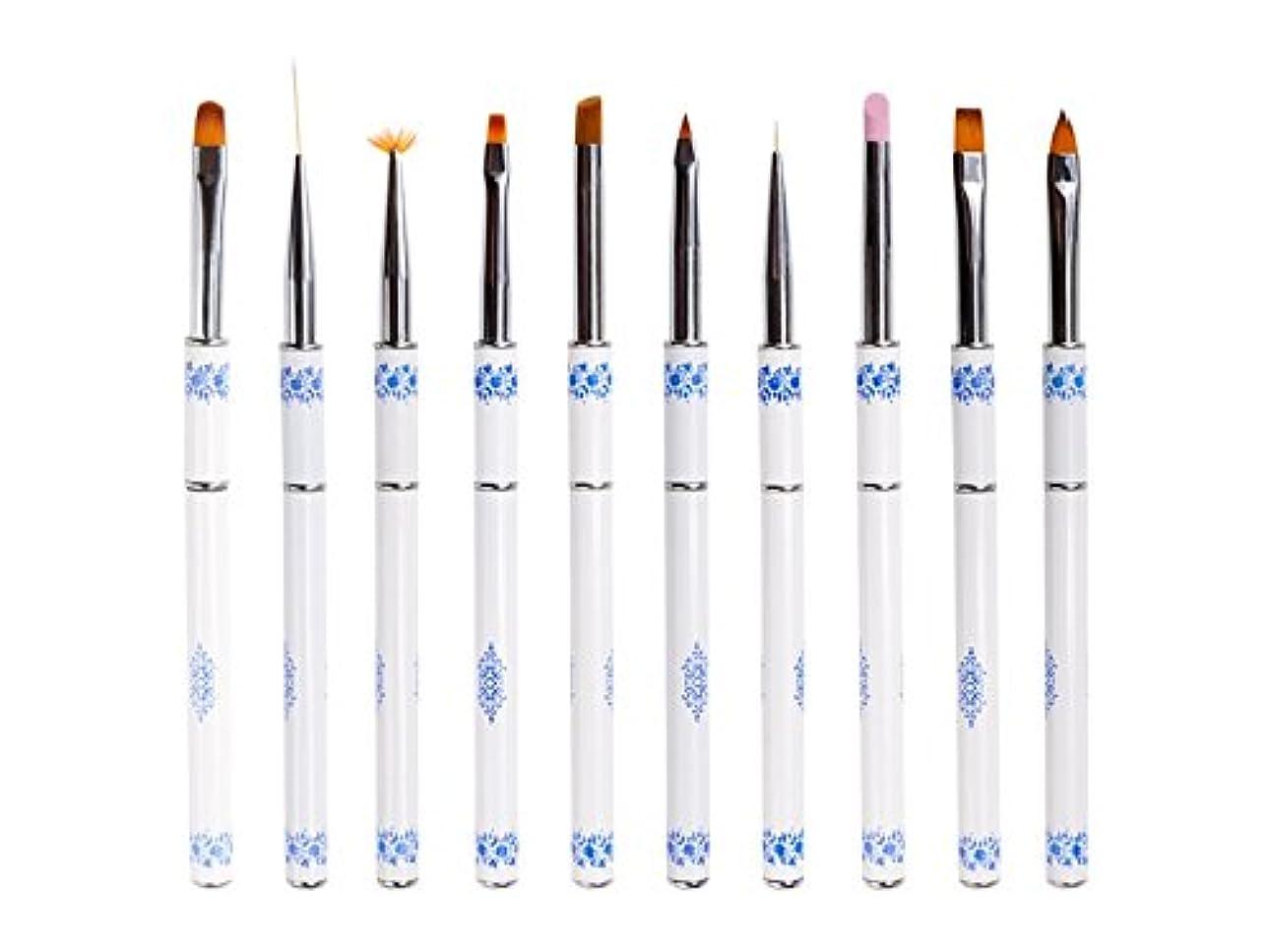 削る伝えるのみOsize ネイル光線療法クリスタルペンセット青と白の磁器ネイルペン引っ張りペンネイルアート塗装ネイルラインペン
