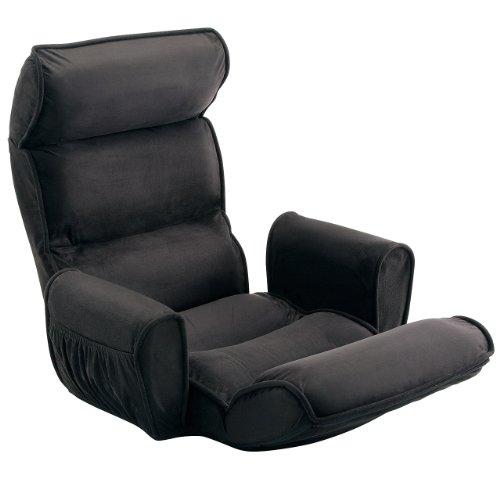 サンワダイレクト 座椅子 肘掛け付き ハイバック サイドポケット付き 低反発ウレタン 14段階リクライニング ブラック 150-SNC103BK