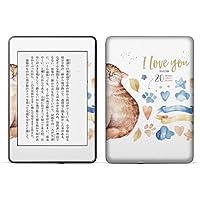 igsticker kindle paperwhite 第4世代 専用スキンシール キンドル ペーパーホワイト タブレット 電子書籍 裏表2枚セット カバー 保護 フィルム ステッカー 015593 猫 夫婦 愛 英語