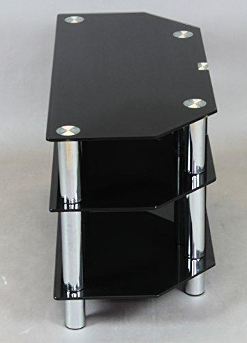 【サンニード】ガラス テレビ台 GTV-90-3 ブラック 黒 幅90 ローボード