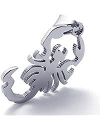 [テメゴ ジュエリー]TEMEGO Jewelry メンズポリッシュステンレススチールヴィンテージペンダントゴシックスコーピオンネックレス、シルバー[インポート]