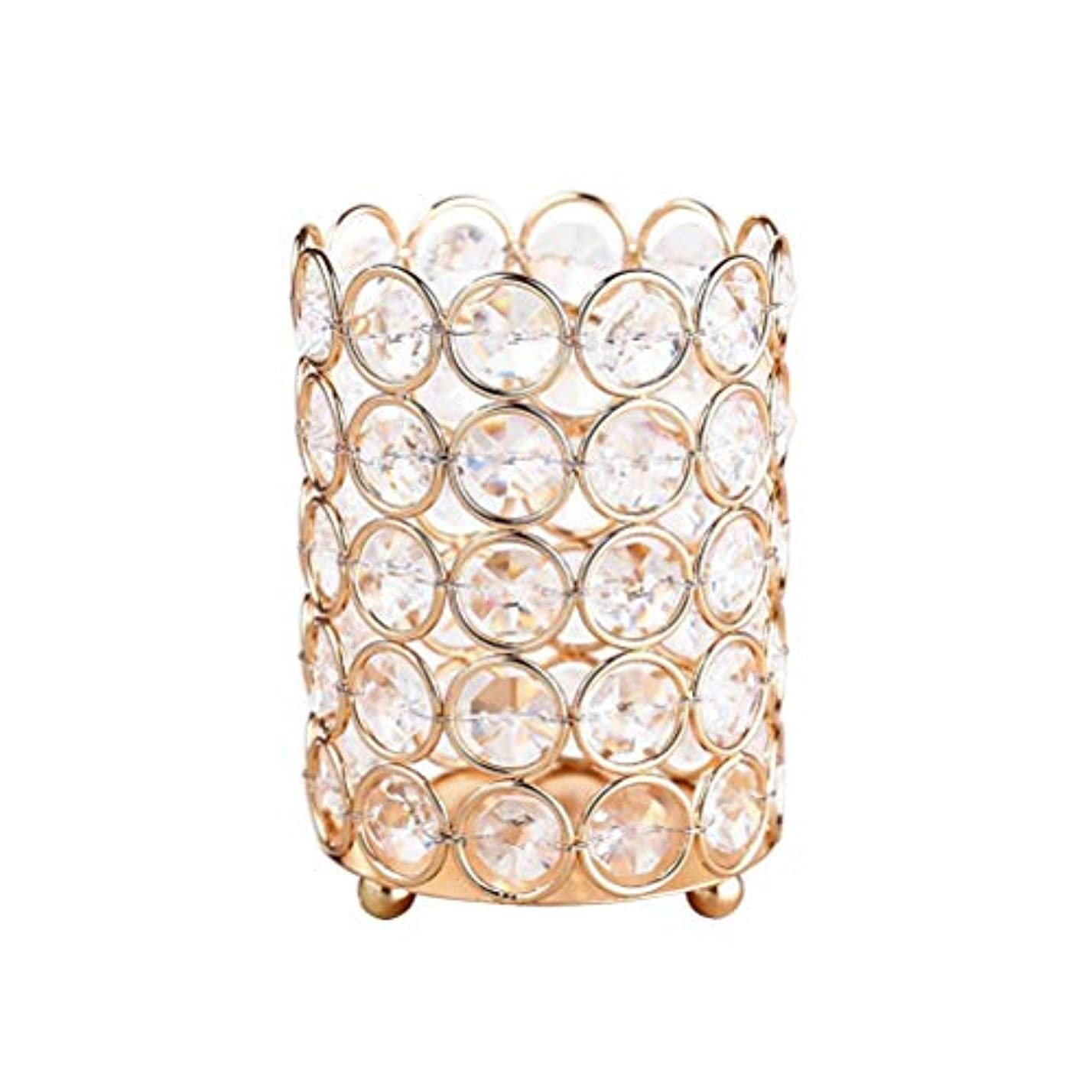 TOPBATHY ガラスキャンドルホルダーラインストーンの装飾ブラシホルダー化粧オーガナイザーキャンドルスタンド家の装飾結婚式パーティーテーブルセンターピース(ゴールド)8×7.5 CM