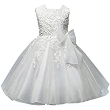 Azhido Flower Girls Dress Lace Embroidered Sleeveless Princess Pageant Gown Ivory
