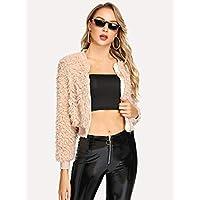 INFASHION Women's Pink Casual Zip Up Crop Teddy Jacket with Zipper