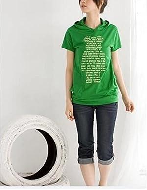 formanism カジュアル ベア フード 半袖 Tシャツ レディース トップス (グリーン M)