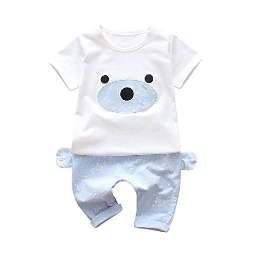 用心深い分離ストライプ(プタス) Putars幼児夏ショートTシャツベア耳プリントスプライスラブリーパンツセット通気性ボーイズコスチューム子供6ヶ月 - 24ヶ月
