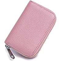 FXICAI Women's RFID Blocking Genuine Leather Credit Card Holder Zipper Wallet With 14 Card Slots
