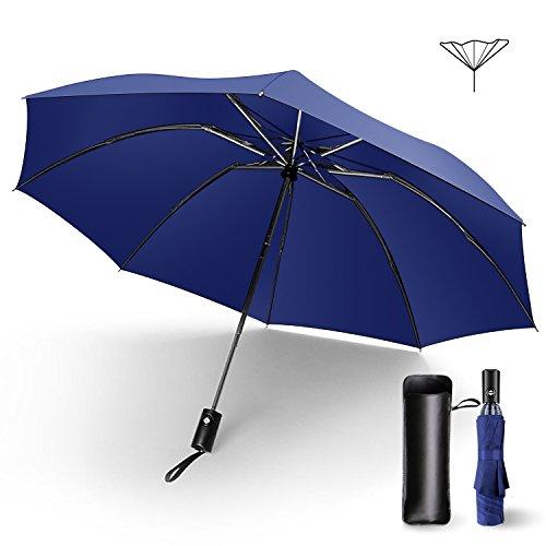 折りたたみ傘 ワンタッチ自動開閉 逆折り式傘 撥水加工 8本骨 風に強い 晴雨兼用 軽量 収納ポーチ付き MataAsu (ネイビ)