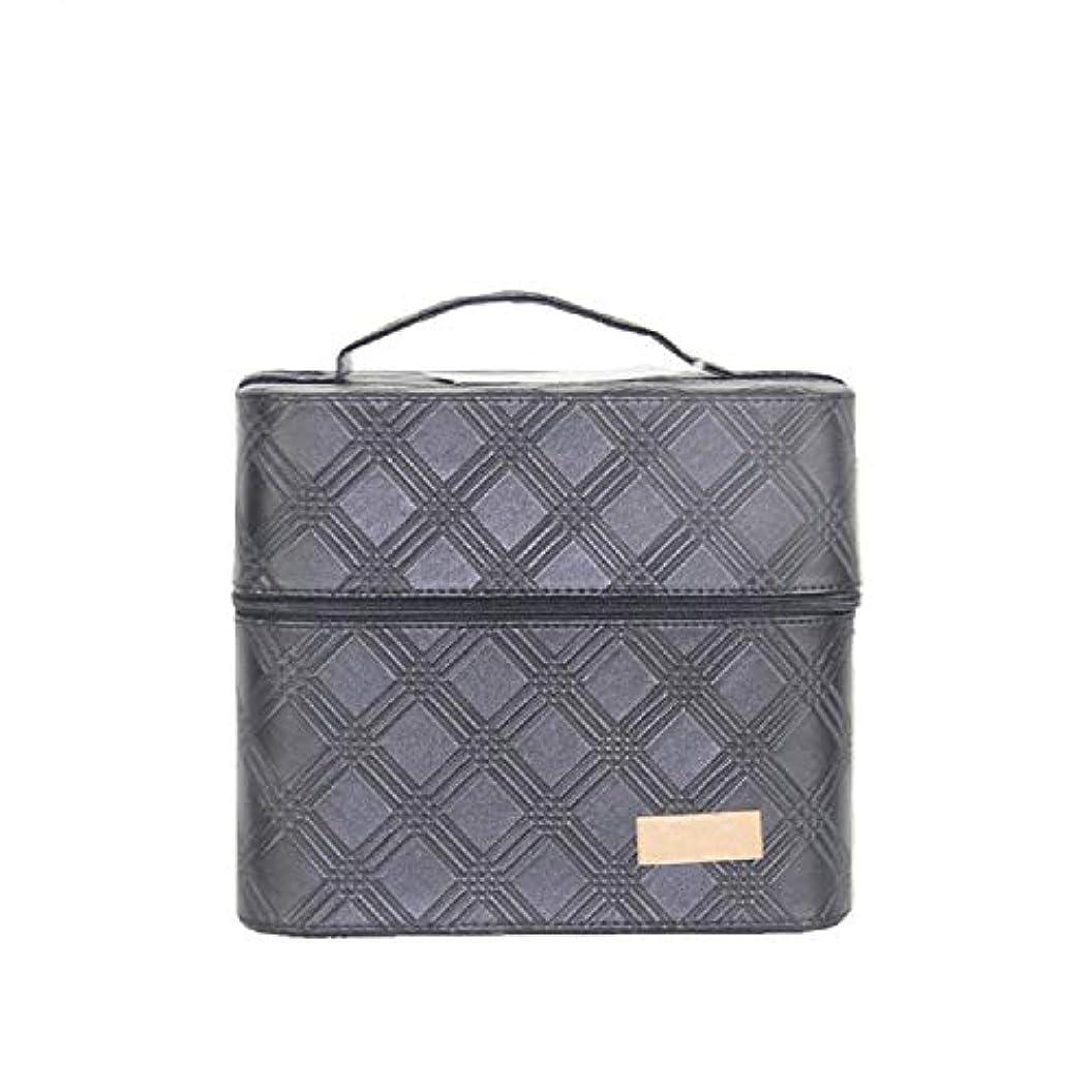 ファセット狂うフィクション化粧オーガナイザーバッグ ジッパーと2つのトレイで小さなものの種類の旅行のための美容メイクアップのための黒のポータブル化粧品バッグ 化粧品ケース