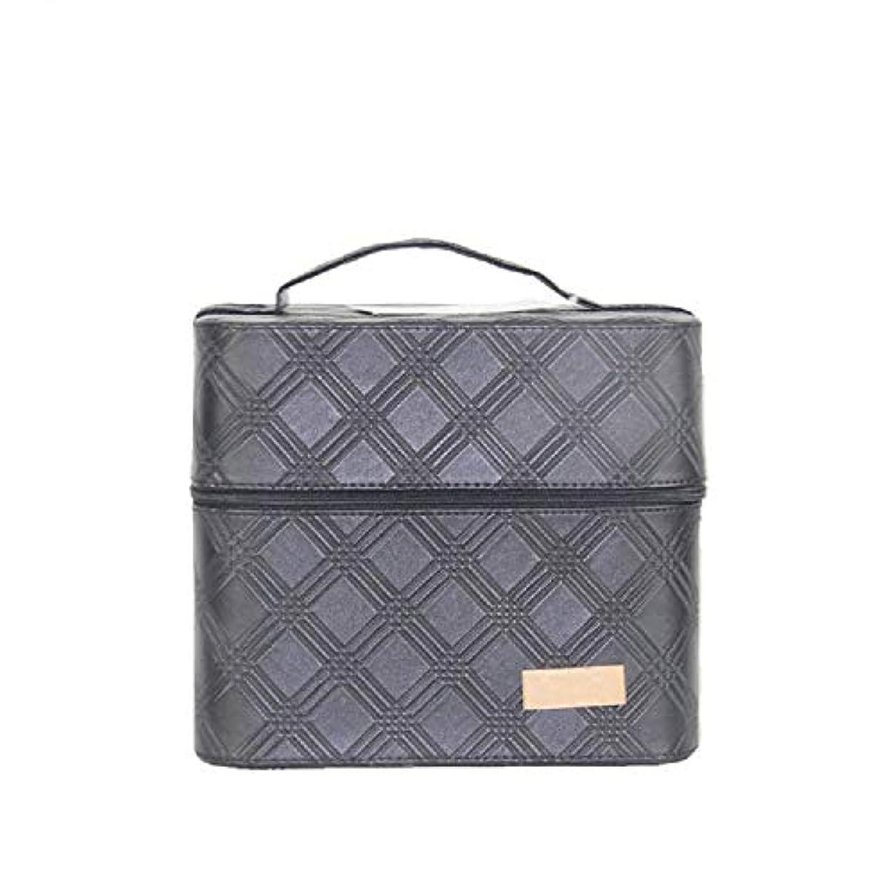 化粧オーガナイザーバッグ ジッパーと2つのトレイで小さなものの種類の旅行のための美容メイクアップのための黒のポータブル化粧品バッグ 化粧品ケース