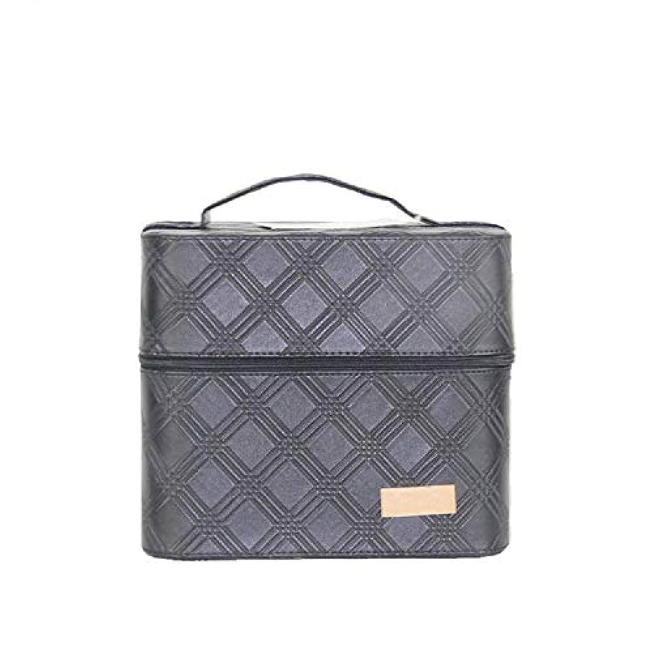 チロ幾何学テセウス化粧オーガナイザーバッグ ジッパーと2つのトレイで小さなものの種類の旅行のための美容メイクアップのための黒のポータブル化粧品バッグ 化粧品ケース