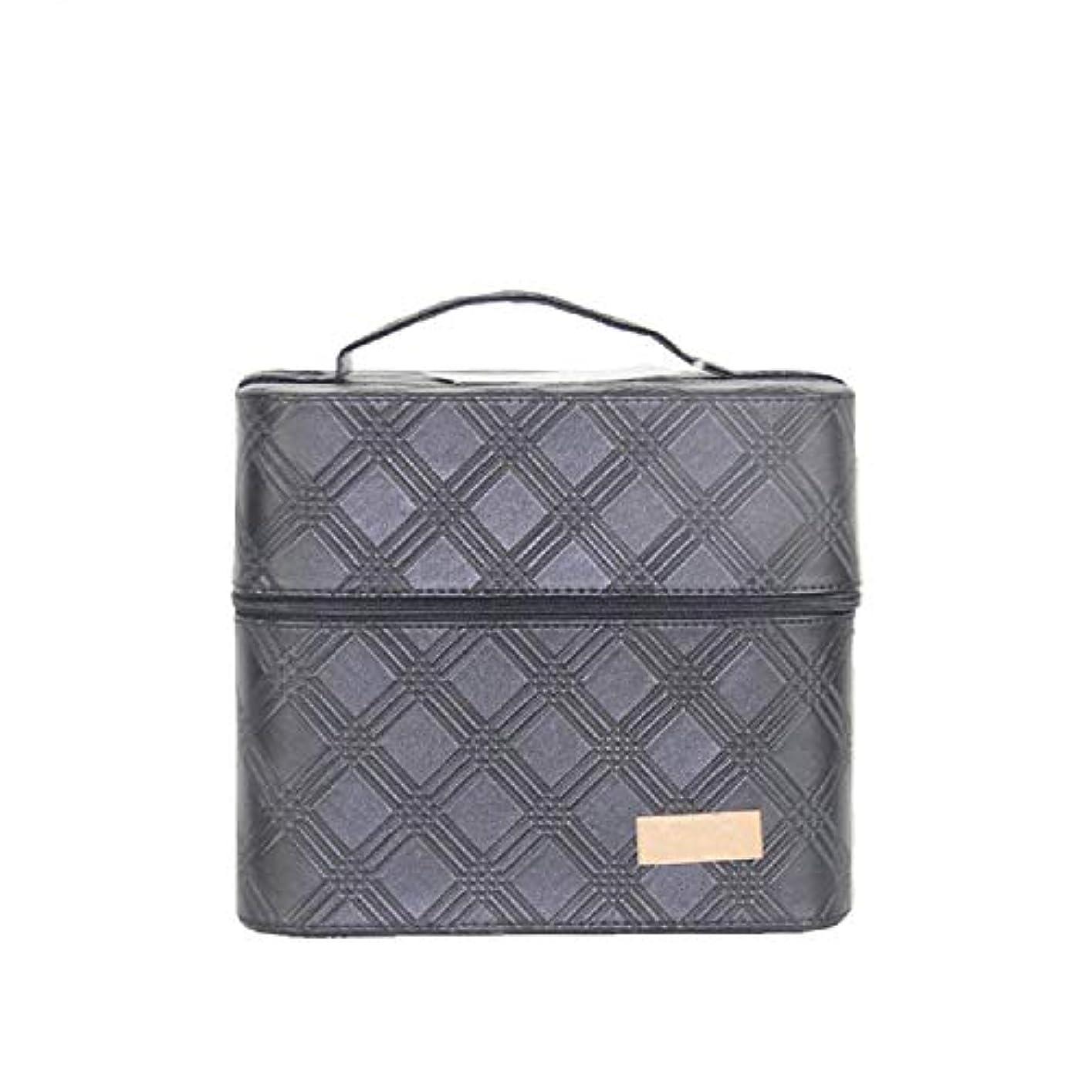 城苦しむ取り戻す化粧オーガナイザーバッグ ジッパーと2つのトレイで小さなものの種類の旅行のための美容メイクアップのための黒のポータブル化粧品バッグ 化粧品ケース