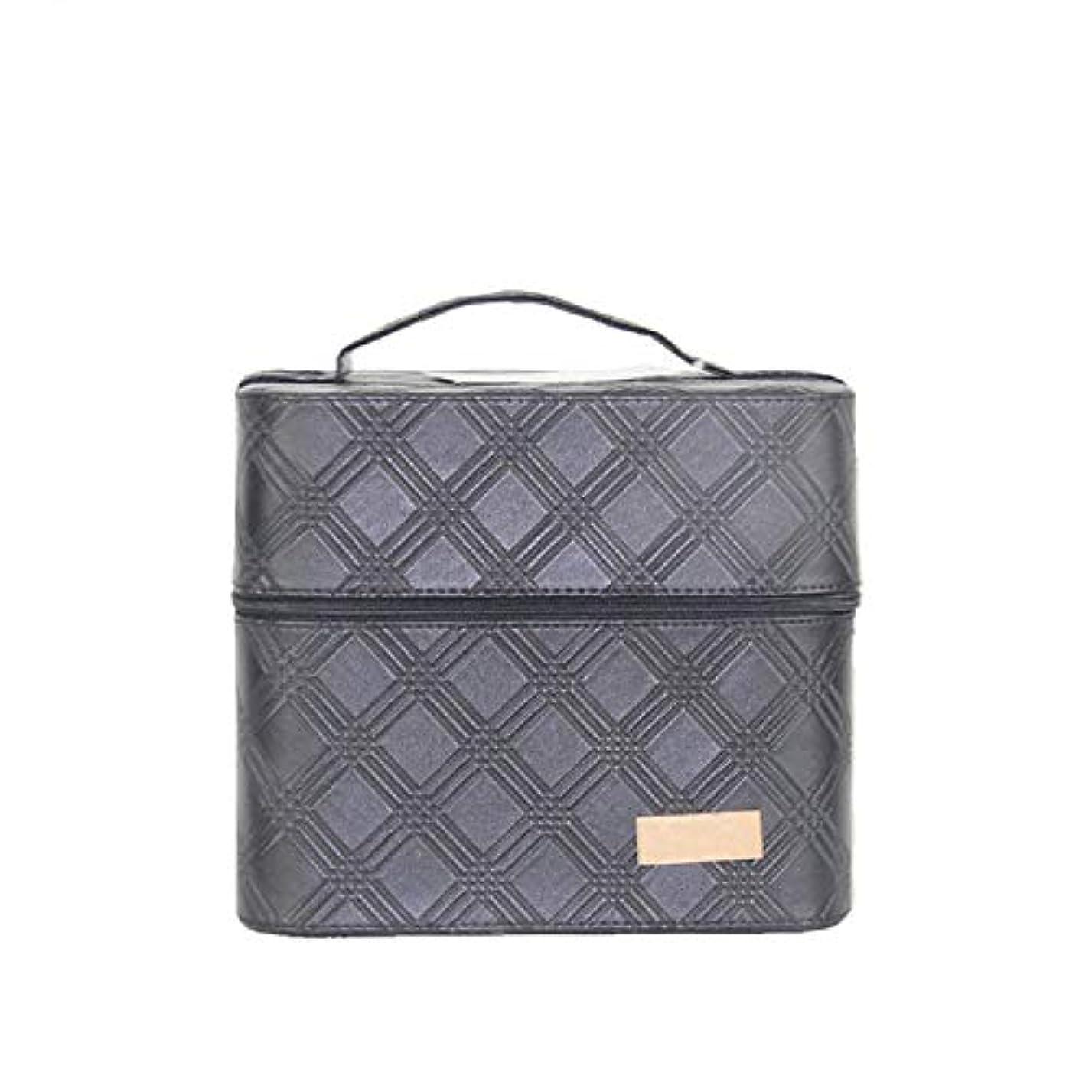 正しく崇拝するビクター化粧オーガナイザーバッグ ジッパーと2つのトレイで小さなものの種類の旅行のための美容メイクアップのための黒のポータブル化粧品バッグ 化粧品ケース