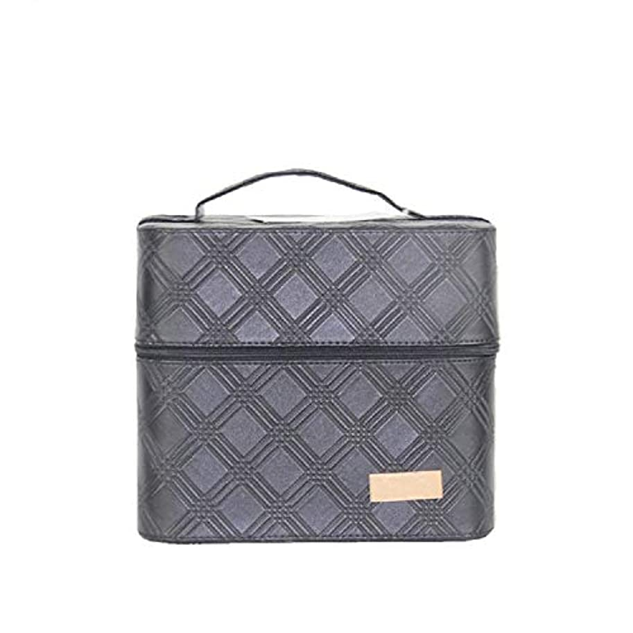 鼻スコア財産化粧オーガナイザーバッグ ジッパーと2つのトレイで小さなものの種類の旅行のための美容メイクアップのための黒のポータブル化粧品バッグ 化粧品ケース