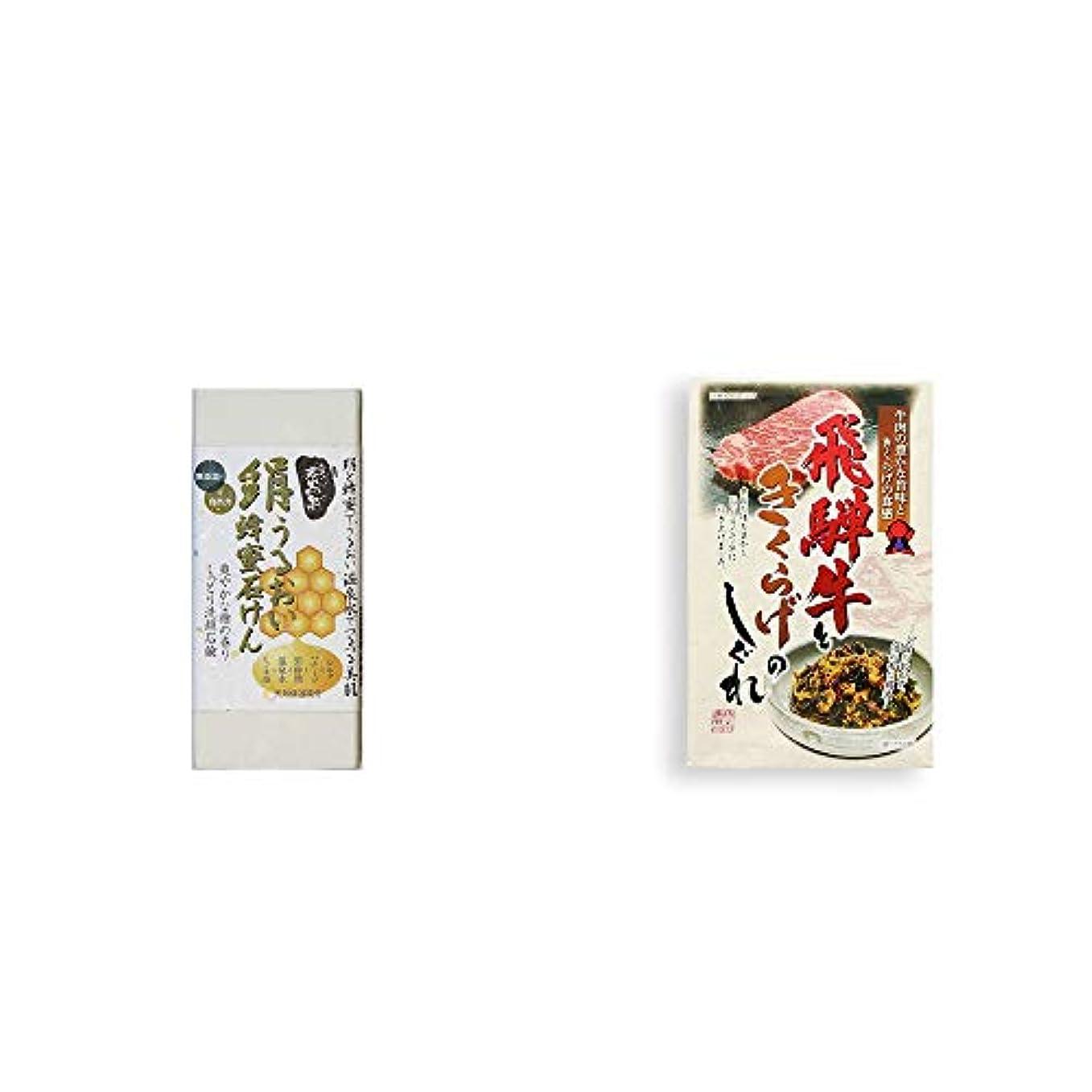 文庫本遠えによって[2点セット] ひのき炭黒泉 絹うるおい蜂蜜石けん(75g×2)?飛騨牛ときくらげのしぐれ(200g)