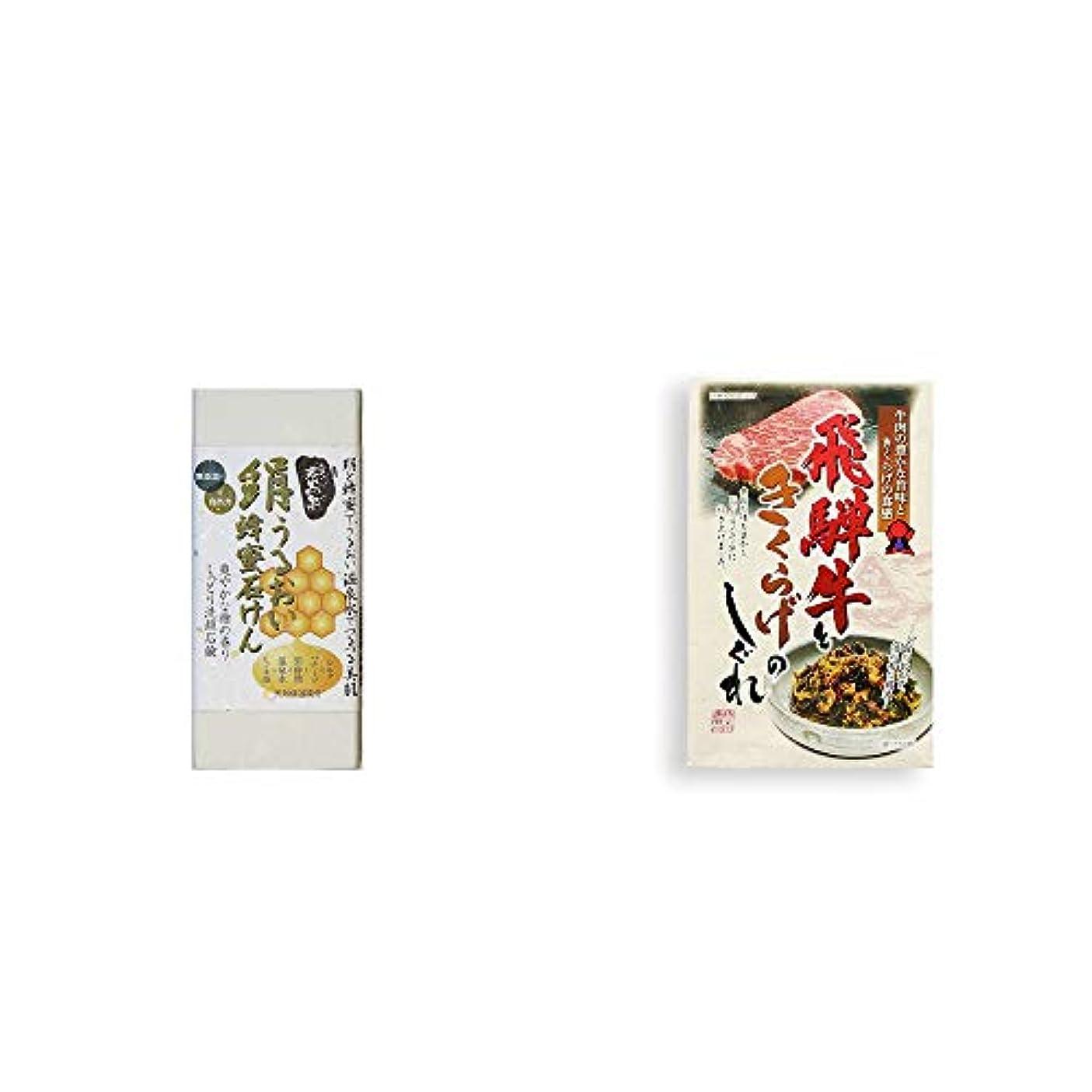足音独立灰[2点セット] ひのき炭黒泉 絹うるおい蜂蜜石けん(75g×2)?飛騨牛ときくらげのしぐれ(200g)