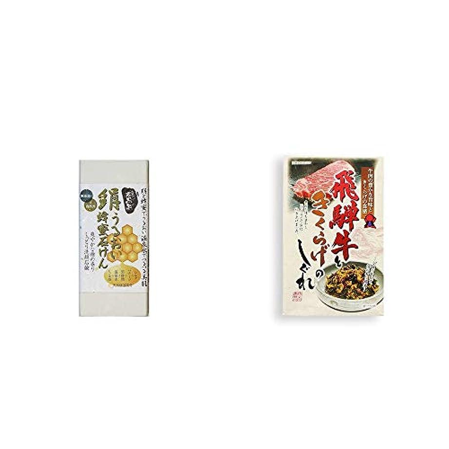 [2点セット] ひのき炭黒泉 絹うるおい蜂蜜石けん(75g×2)?飛騨牛ときくらげのしぐれ(200g)
