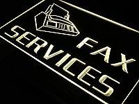 ADVPRO OPEN Fax Services Shop Ads Ad LED看板 ネオンプレート サイン 標識 Yellow 600 x 400mm st4s64-i149-y