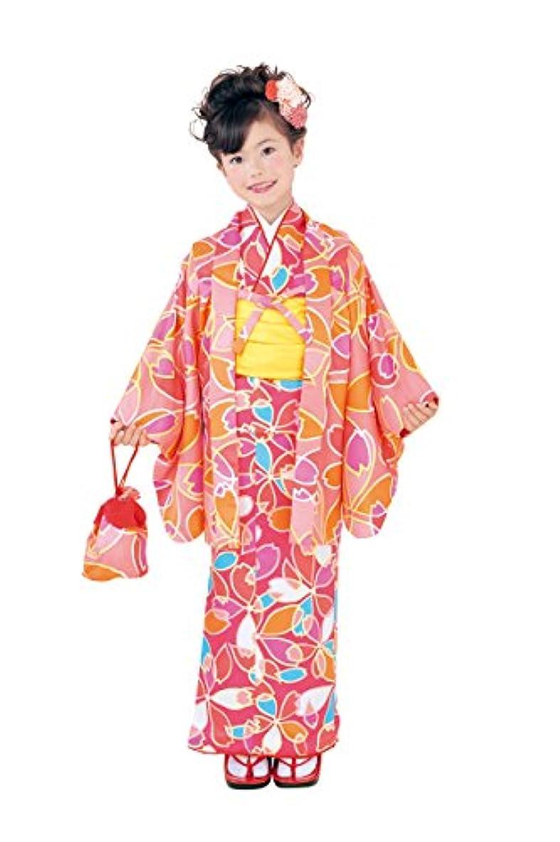 既に自己百2017年新柄 ちびっこおでかけ着物6点セット 濃ピンク オレンジ系 Club H?L アッシュエル 女の子