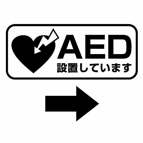 【AED設置案内カッティングステッカー ver.06 大判Lサイズ 2枚組 幅約31cm×高約13c...
