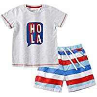 Jobakids Boys' Short Set Summer Cute Print Clothing Sets (7T, Red2)