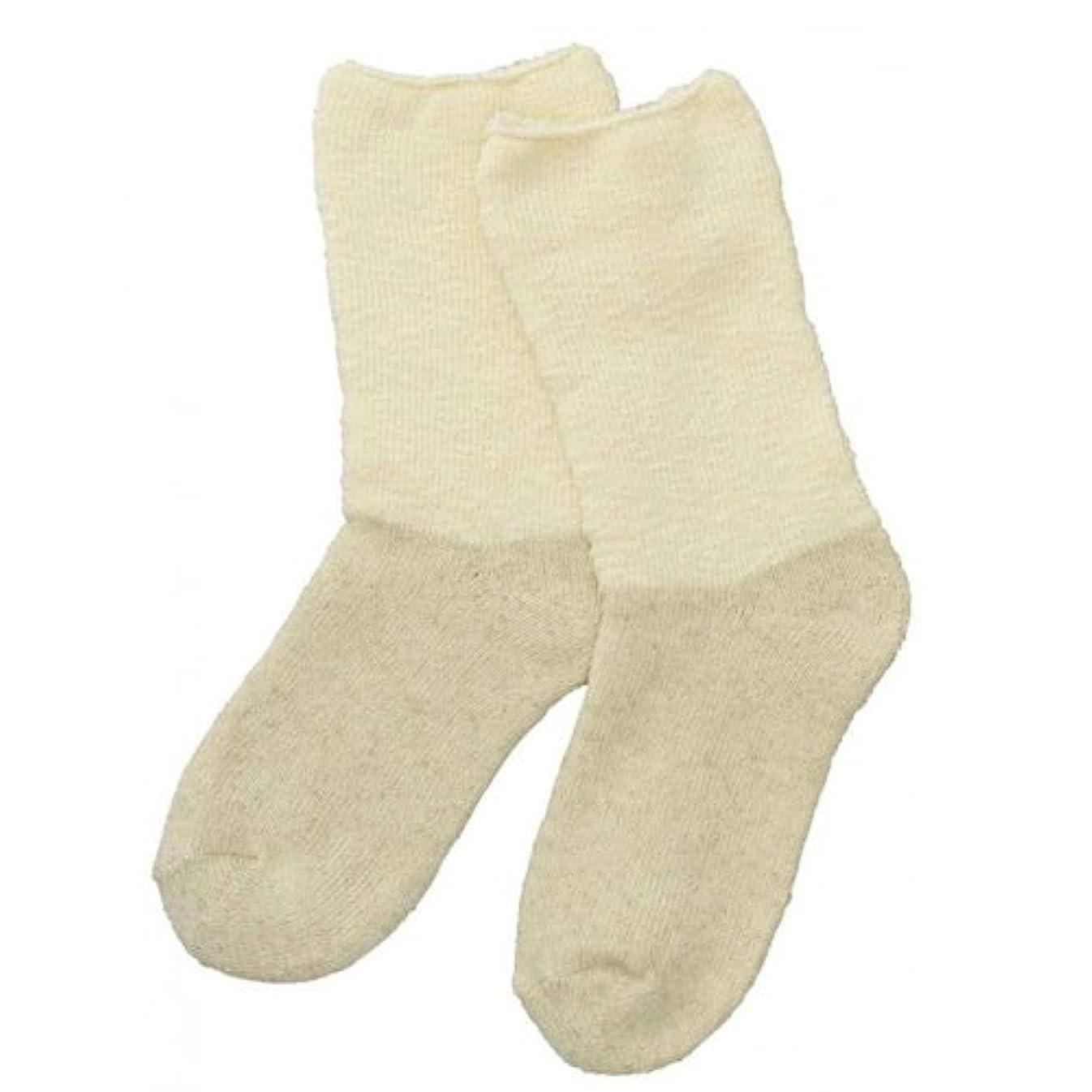 支払う活気づくモッキンバードCarelance(ケアランス)お風呂上りのやさしい靴下 綿麻パイルで足先さわやか 8706CA-31 クリーム