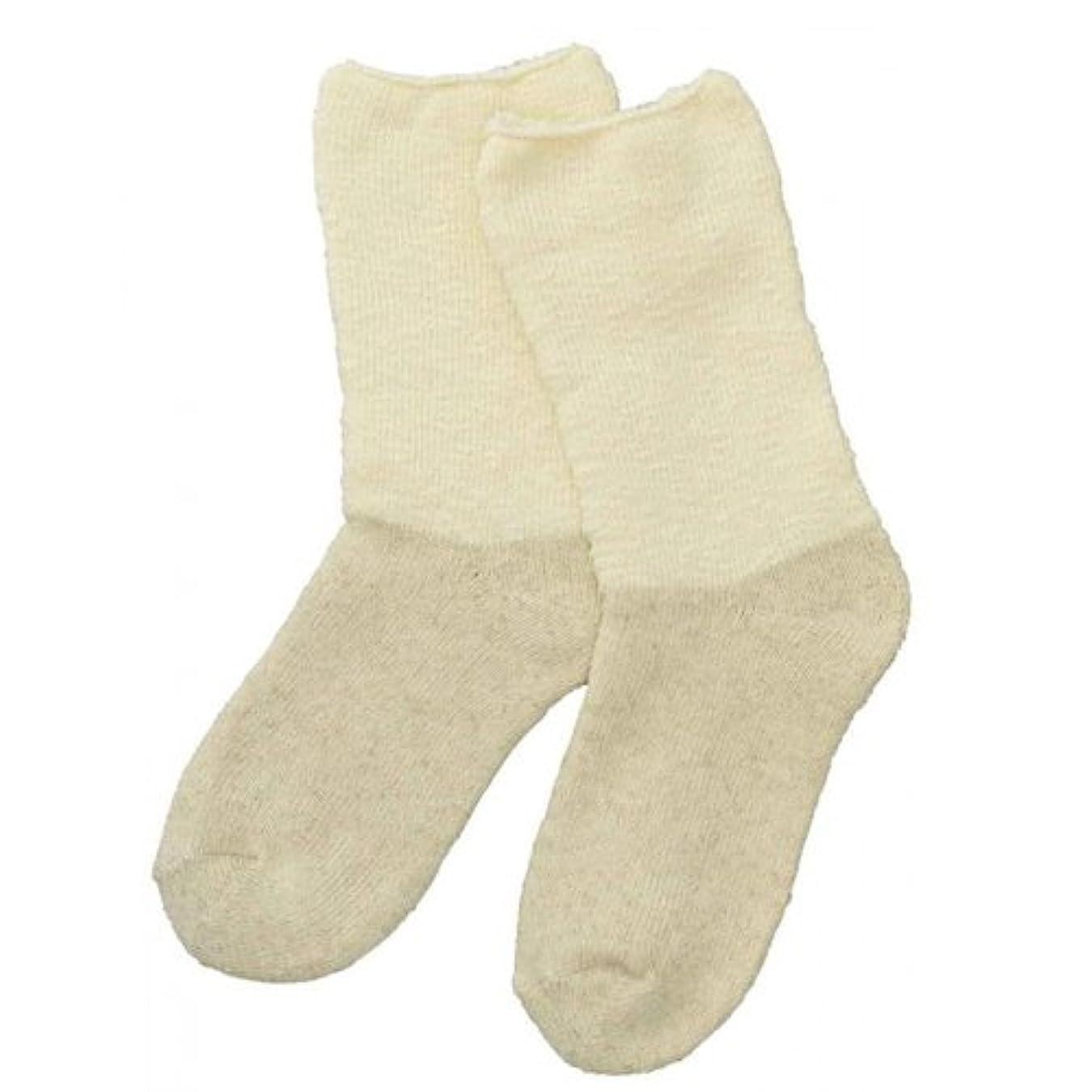 耐えるペグ消毒剤Carelance(ケアランス)お風呂上りのやさしい靴下 綿麻パイルで足先さわやか 8706CA-31 クリーム