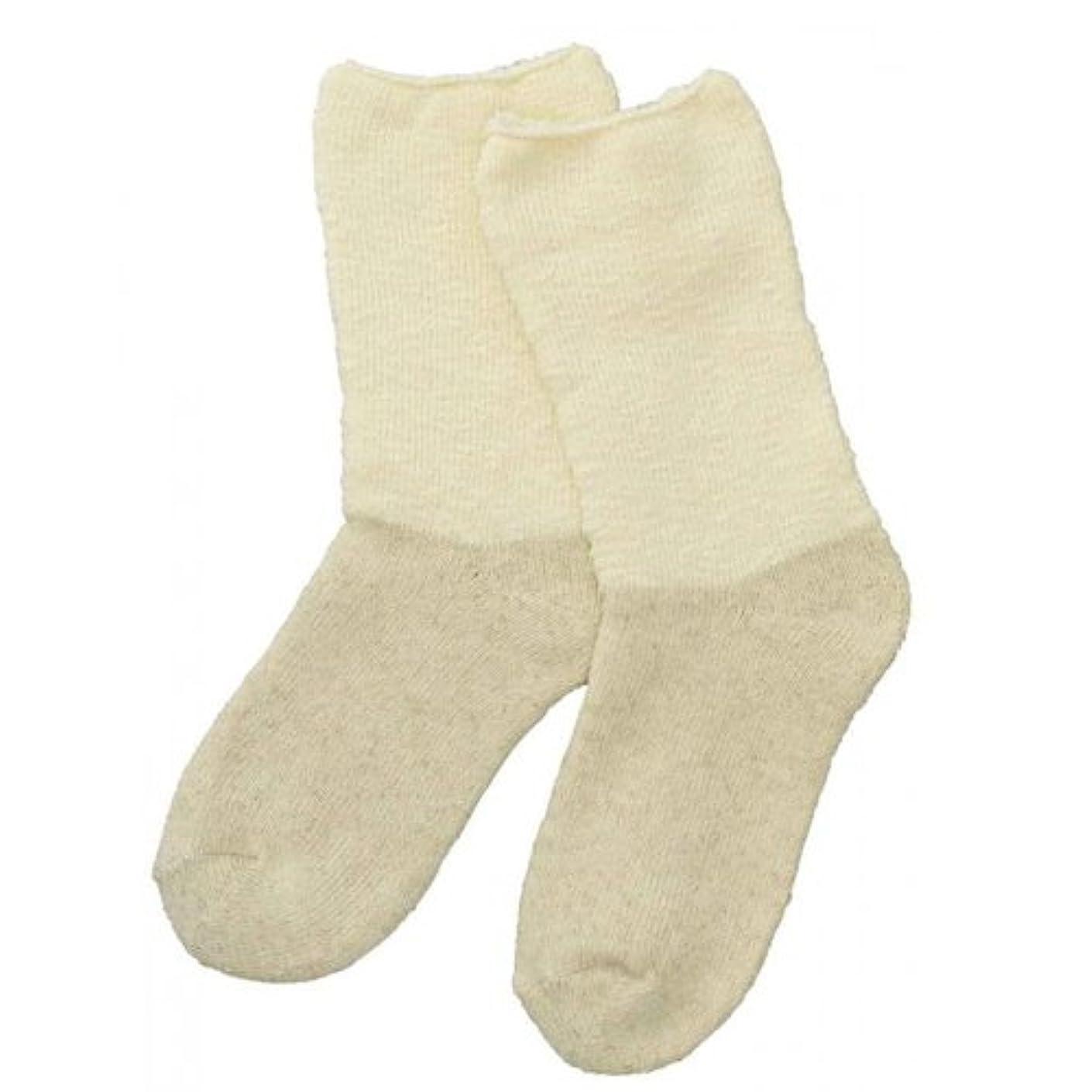 気球合法火山Carelance(ケアランス)お風呂上りのやさしい靴下 綿麻パイルで足先さわやか 8706CA-31 クリーム