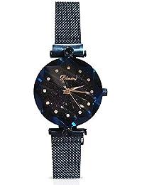 RORIOS ファッションアナログクォーツウォッチ 磁気メッシュバンド 星空ダイヤル 模造ダイヤモンド腕時計 ガールズ/レディース 防水 ブルー