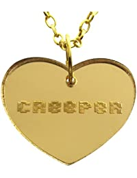 Heart Creeper Necklace in Gold Mirror Laser Cut Acrylic