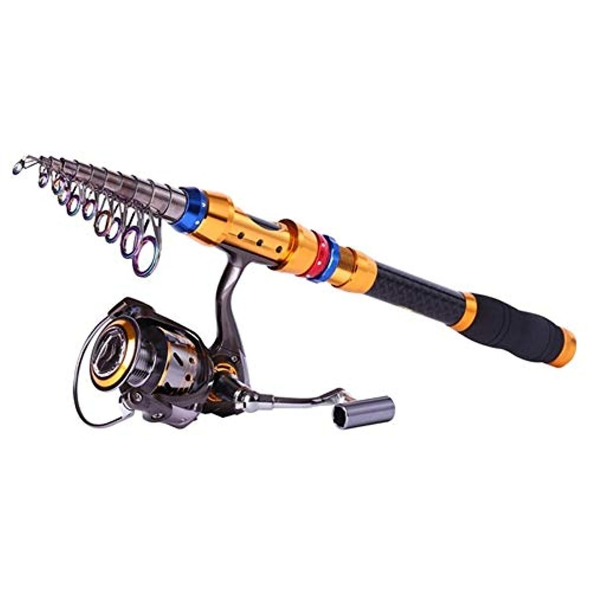 クランシー縁レジデンスICoolBear フィッシングポール カーボン伸縮自在釣り竿 13BBメタルスピニングリール釣り竿とリールセット